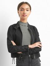 Gap Women's Lace-Up Denim Moto Jacket, Washed Black, 100% Cotton, Size L... - $67.49