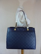 NWT Tory Burch Royal Navy Fleming Triple Compartment Shoulder Tote - $572.21