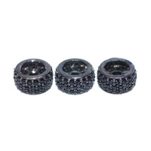 8 mm Spinel Pave 925 Silver Wheel Rondelle Spacer Finding Jewelry 3 Pcs Lot - $121.55