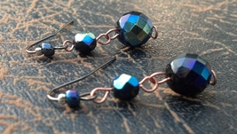 Sparkly Black/Blue Faceted Glass Earrings Hand Made In USA - $15.99