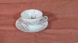 Winterling Bavaria Cup & Saucer, Feathers, Blue, Pink, & Yellow - $4.99