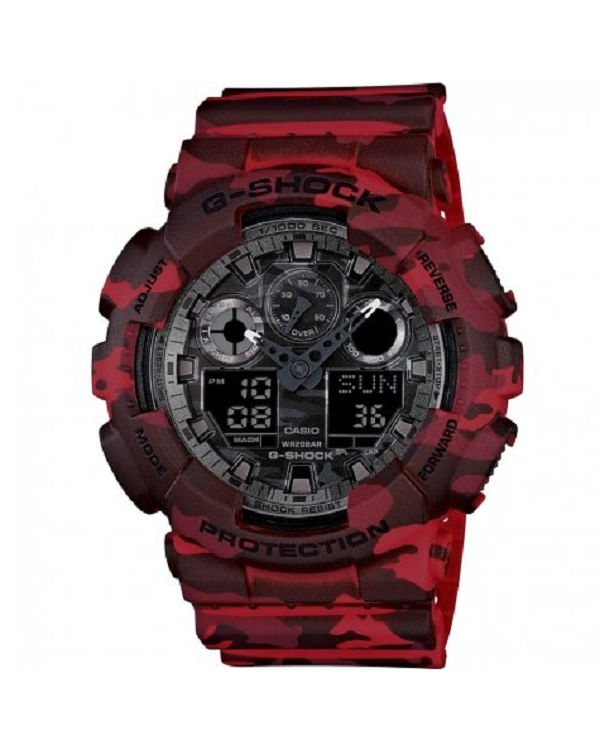 Primary image for New Casio G-Shock GA-100CM-4A Red Camouflage Dial Men's Watch
