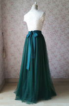 Dark Green Wedding Tulle Skirt with Bow Dark Green Bridesmaid Long Tulle Skirts image 6
