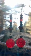Black and Red Glass Earrings Sterling Silver French Hooks Hand Made In USA - $15.00