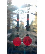 Black and Red Glass Earrings Sterling Silver Fr... - $15.00
