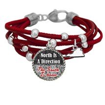 Virginia North is Direction South is Home Red Leather Bracelet Southern ... - $13.80