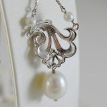 18K WHITE GOLD CHAIN NECKLACE WITH FLOWER ANTIQUE STYLE AND PEARLS MADE IN ITALY image 3