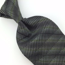 Allyn Saint george Olive Green Stripe Silk Men's Neck Tie Z-4/7 Excellent - $15.83
