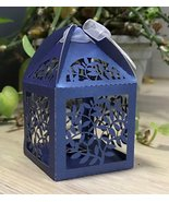 100pcs pearl navy blue leaf Laser Cut favor boxes,small gift boxes for t... - $34.00+