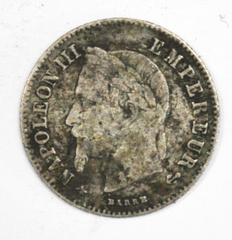 1866 A France 20 Twenty Centimes Silver Coin KM# 805.1
