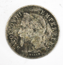 1866 A France 20 Twenty Centimes Silver Coin KM# 805.1 image 1