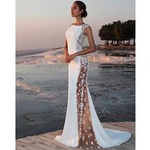 Women's New Bridal Fashion Sleeveless Lace Sexy Elegant Beach Wedding Dress