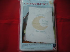JDNA Crib Quilt Embroidered Top. New. I Love You To The Moon And Back. - $10.00