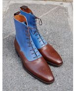 Handmade Blue Brown Genuine Leather Boots, Dress Two Tone Lace Up Boots - $169.97+