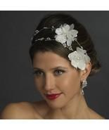 White or Ivory Spring Summer Beach Crystal Wedding Flower Bridal Headpiece - €52,91 EUR