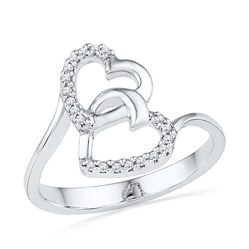 10kt White Gold Womens Round Diamond Double Heart Love Ring 1/12 Cttw