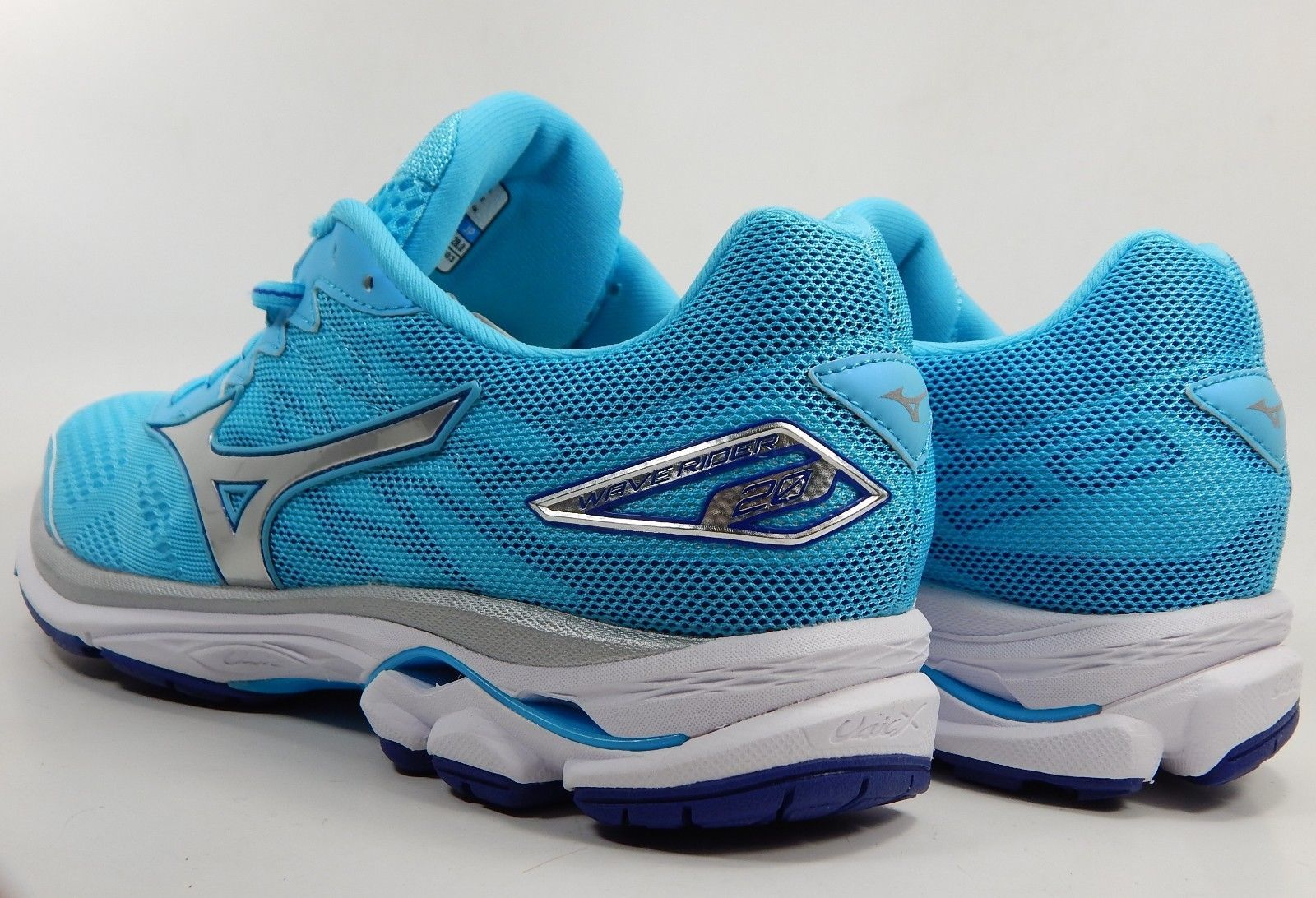 Mizuno Wave Rider 20 Size 11.5 M (B) EU 43 Women's Running Shoes Blue Silver