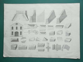 1864 ENGINEERING PRINT - Geometrical Shapes Calculations Retaining Walls - $22.50