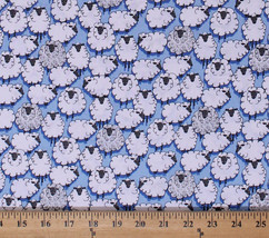 Cotton Sheep Animals on Blue Sheepish Cotton Fabric Print by the Yard D6... - $10.95