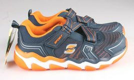 Skechers Boys S Sport blue orange Orin Hook & Loop Slip-on Sneaker Shoes 2 NWT image 3