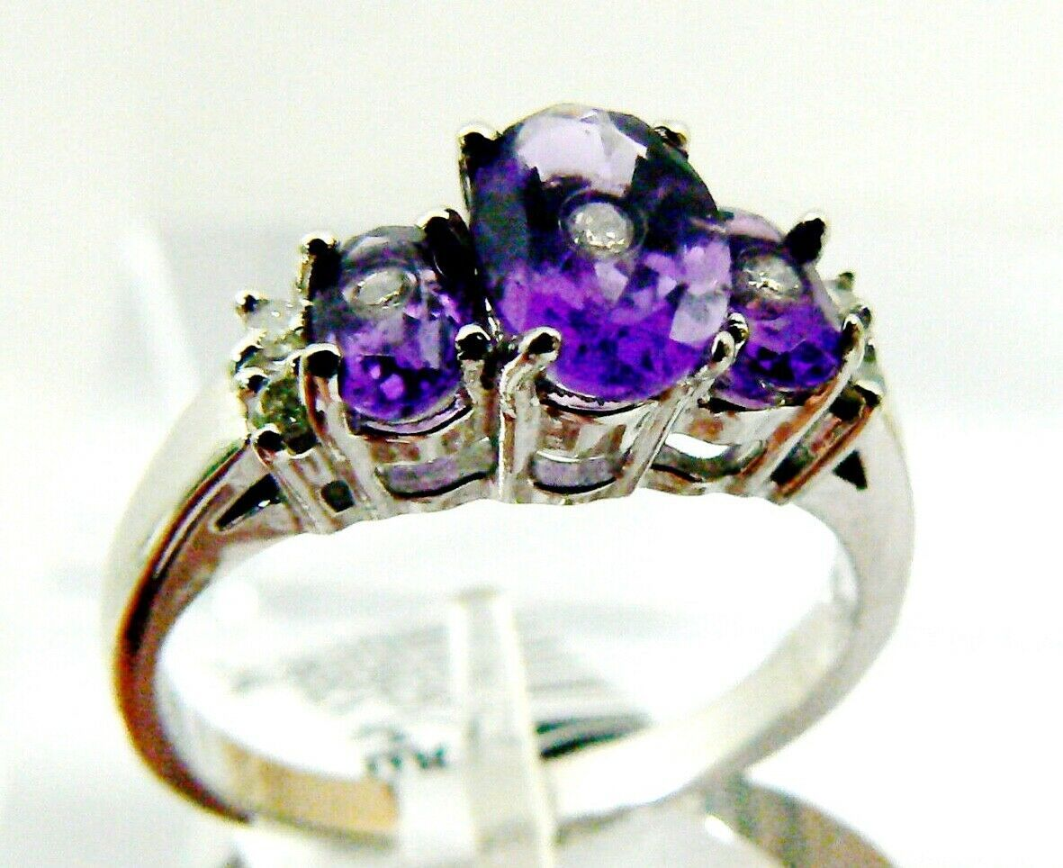 Primary image for 1.25 ctw Genuine Amethyst  & Diamond Three stone  White14K Gold Ring Sz 6 NWT