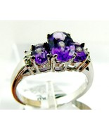 1.25 ctw Genuine Amethyst  & Diamond Three stone  White14K Gold Ring Sz ... - $316.80