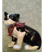 CAST IRON DOOR STOP OF ADORABLE BOSTON TERRIER WEARING A PLAID RIBBON BOW - $35.00