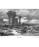 WYOMING Rocky Mountains Red Buttes by Thomas Moran - 1883 German Print - $16.20