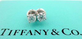 Tiffany & Co Platinum Round Diamond Stud Earrings .55CTW G-H VS1-VS2 $5,200 - $2,925.00