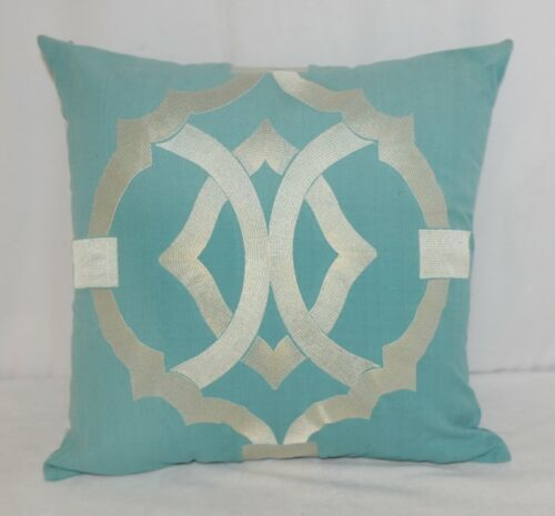 Split P 2806053CVR Pillow Plus Turquoise Margaux Geo Embroidered Cover 16 In