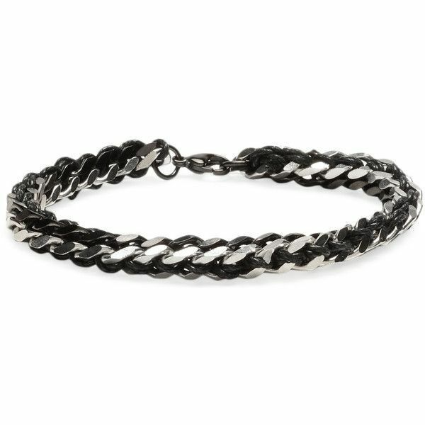 "Ed Jacobs Men's Woven Black Silver Stainless Steel Metal Link 8"" Bracelet NWT"