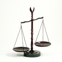 Bronzed Legal Lawyer Scales of Justice with Eagle Finial and Marble Base... - $80.57