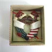 Kurt S Adler Holly Bearies Teddy Bears in Christmas Stockings Kissing Ornament - $6.99