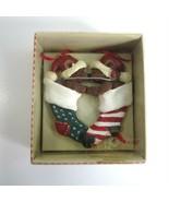 Kurt S Adler Holly Bearies Teddy Bears in Christmas Stockings Kissing Or... - $6.99