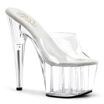 "PLEASER Sexy Stripper Dancer Clear Platform Mules Pole Shoes 7"" Stiletto... - $41.95"