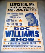 DOC WILLIAMS COUNTRY MUSIC SHOW 14 x 22 POSTER LEWISTON MAINE #1 - $49.95