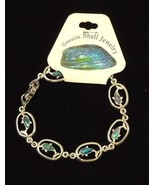 Dolphin Abalone Shell Inlayed Charm Bracelet 7 1/2 in - $6.43