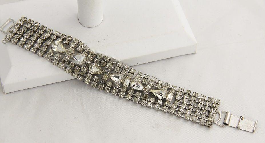 "80s VINTAGE Jewelry SIX ROW ICE RHINESTONE BRACELET PEAR BAGUETTE  & CHATON - 7"""