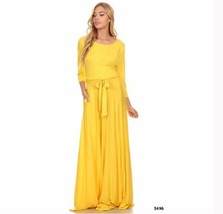 Yellow Maxi Dress Scoop Neck Puddle Half Sleeve Jersey Knit Stretch Wome... - $14.00