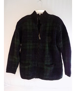 WOMEN'S RALPH LAUREN Zip Up SWEATER BLUE & GREEN PLAID Size Small 100% C... - $23.75