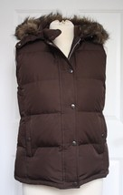 GAP M Faux Fur Hooded Brown Puffer Down Vest Zip Up Snaps - $23.76