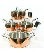 New IL Mulino NY Copper Triply 8 Piece Cookware Saucepan Set Glass Vente... - $286.54