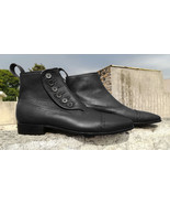 Handmade Men 2 Tone Black Leather Boot, Men Ankle High Button dress Form... - $179.97+