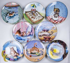 Danbury Mint Lot of 8 Gary Patterson Cat Plates From Comical Cats Collec... - $178.19