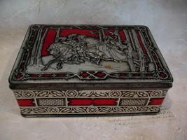Vintage Riley's RILEYS Toffee Tin Medieval Falcon Hawk Hunting Horses So... - $14.95