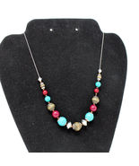 """Avon Western Inspired Turquoise Color Bead Wood Necklace Silvertone 16"""" ... - $19.79"""
