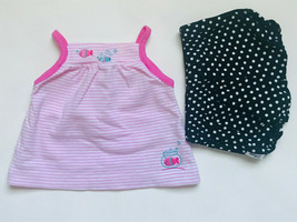 Girl's Size NB Newborn Two Piece Pink Striped Fish Carter's Top + Black Bloomers - $16.00