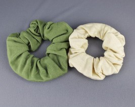Olive Tan 2 jersey ponytail holder scrunchies hair elastic tie band set ... - $3.68
