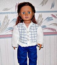 AG Doll Blue and White Plaid Sweater, Crochet Sweater, Cardigan Sweater - $25.00