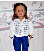 AG Doll Blue and White Plaid Sweater, Crochet Sweater, Cardigan Sweater - $28.00